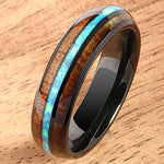 Black Tungsten Opal Koa Wood Ring Barrel Shape 6mm Band