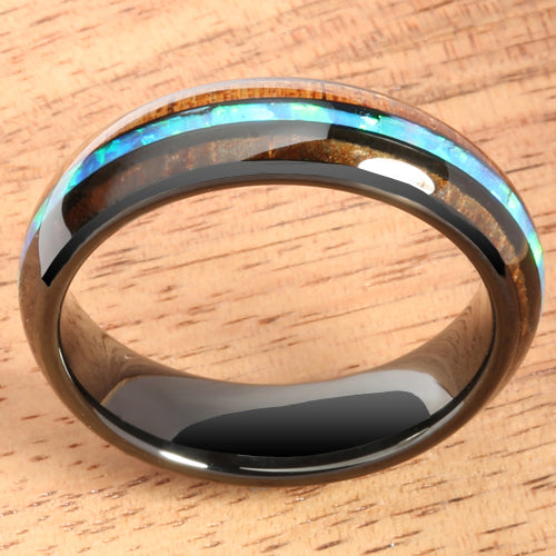 Black Tungsten Hawaiian Koa Wood  Opal Wedding Ring Barrel Shape 8mm/6mm Set
