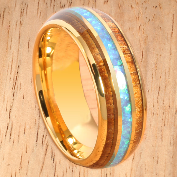 YG Plated Koa Wood Opal Tungsten Wedding Ring 8mm Triple Row Men's Ring