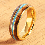 6mm YG Plated Koa Wood Opal Tungsten Wedding Ring Triple Row Men's Ring