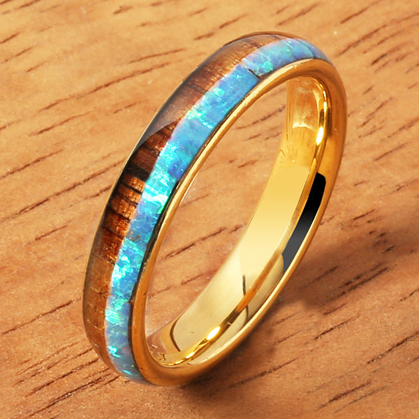 4mm Yellow Gold Tungsten Opal Hawaiian Koa Wood Ring Double Row Two Tone Dome Shape