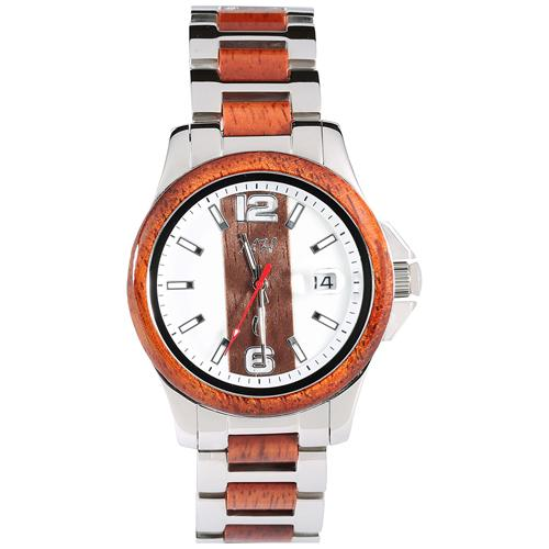 Koa Wood Stainless Steel Mechanical Watch Center Koa Wood Dial