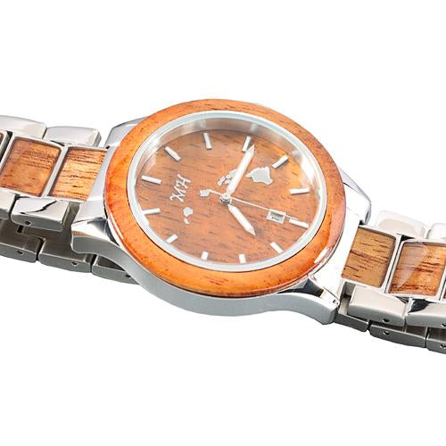 Koa Wood Stainless Steel Quartz Watch Japan Movement - Makani Hawaii Jeweler