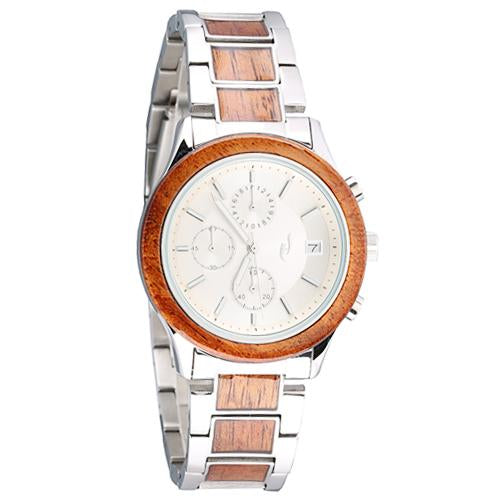 Koa Wood Stainless Steel Quartz Watch Japan Chronograph Movement