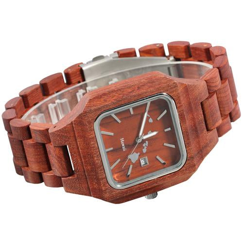Red Sandalwood Wooden Watch Square Case Island Map Japan Movement