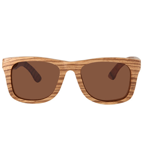 Zebrawood Sunglasses UV 400 Protection Lens Rectangle Frame with nose