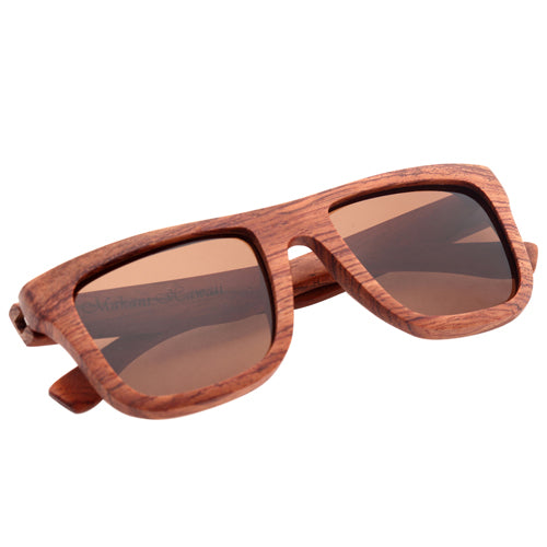 Classic Style Red Wood Sunglasses UV 400 Protection Lens Rectangle Frame Flat