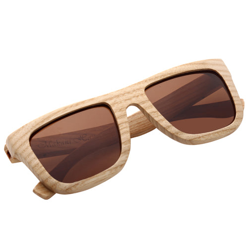 Classic Style Maple Wood Sunglasses  UV 400 Protection Lens Rectangle Frame Flat