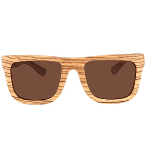Classic Style Zebrawood Sunglasses  UV 400 Protection Lens Rectangle Frame Flat