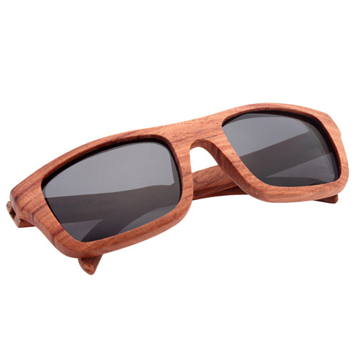 Red Wood Sunglasses UV 400 Protection Lens Rectangle Dome Frame