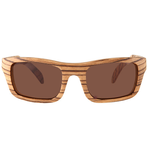Zebrawood Sunglasses UV 400 Protection Lens Rectangle Dome Frame