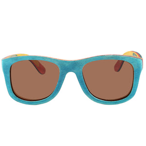 Wooden Sunglasses Skateboard Wood Tri-Color Sunglasses UV 400 Protection Lens