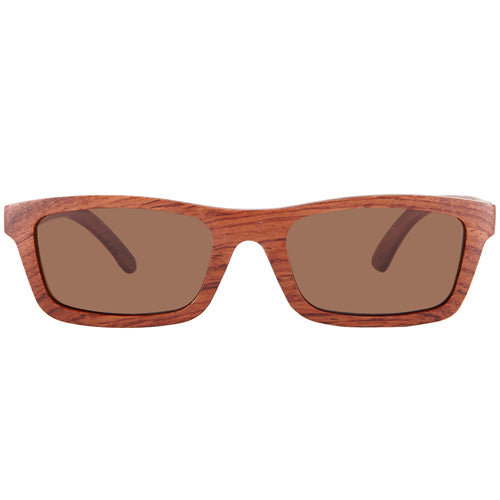Red Wood Sunglasses Rectangle Shape UV 400 Protection Lens