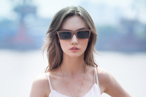 Walnut Sunglasses Rectangle Shape UV 400 Protection Lens