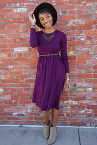 Dark Plum Midi Dress