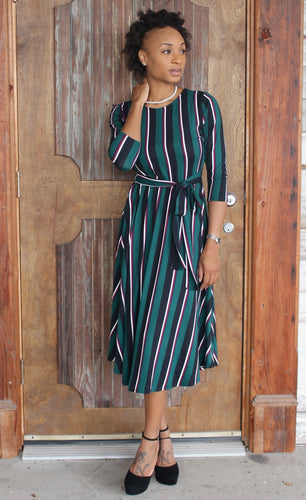 Hunter Green Striped Midi