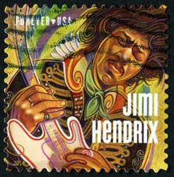a stamp issued to honor legendary guitarist and musician Jimi Hendrix.