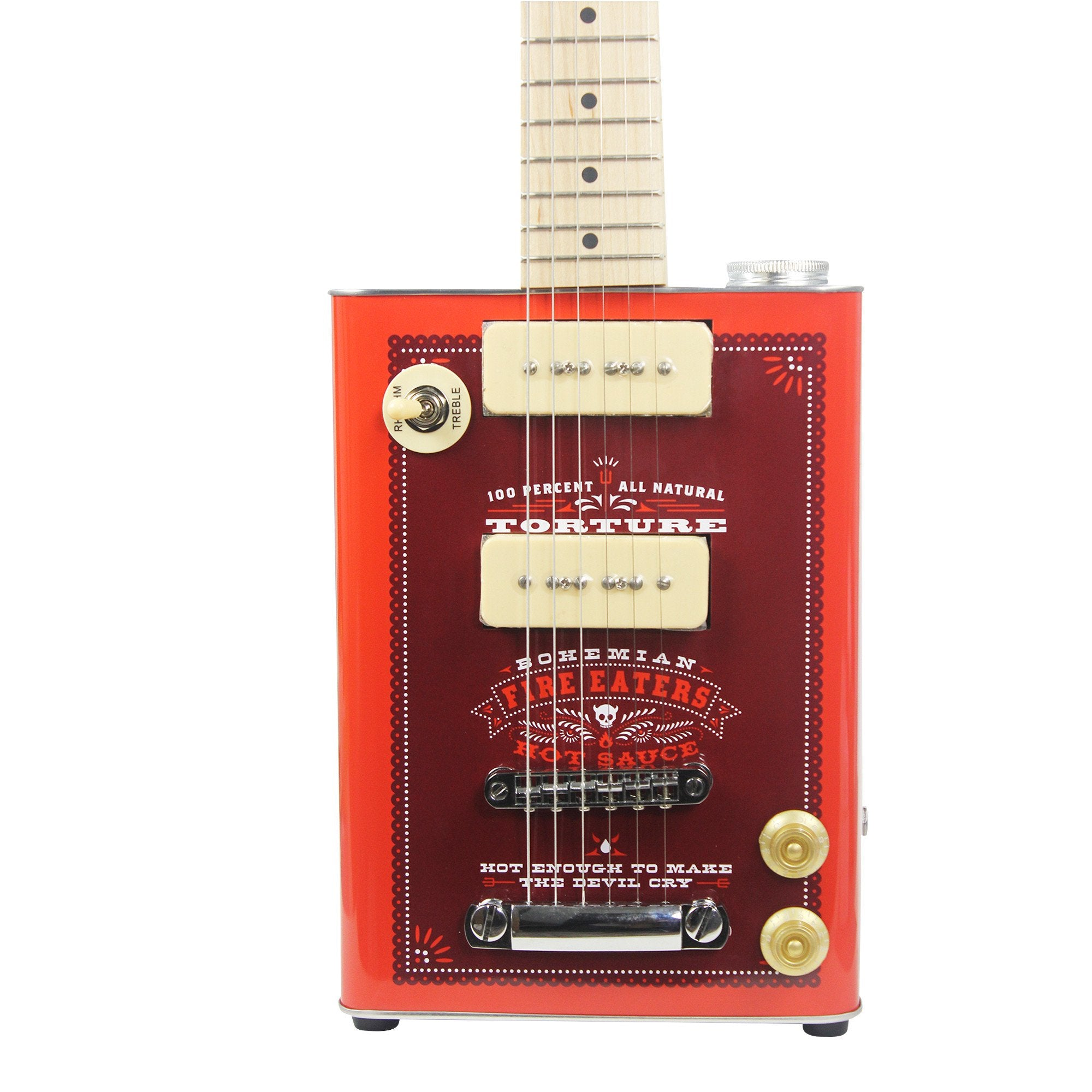 Guitar - PREMIER GUITAR EXCLUSIVE Bohemian Hot Sauce - Electric Oil Can Hollow-body Guitar -  2 X P90