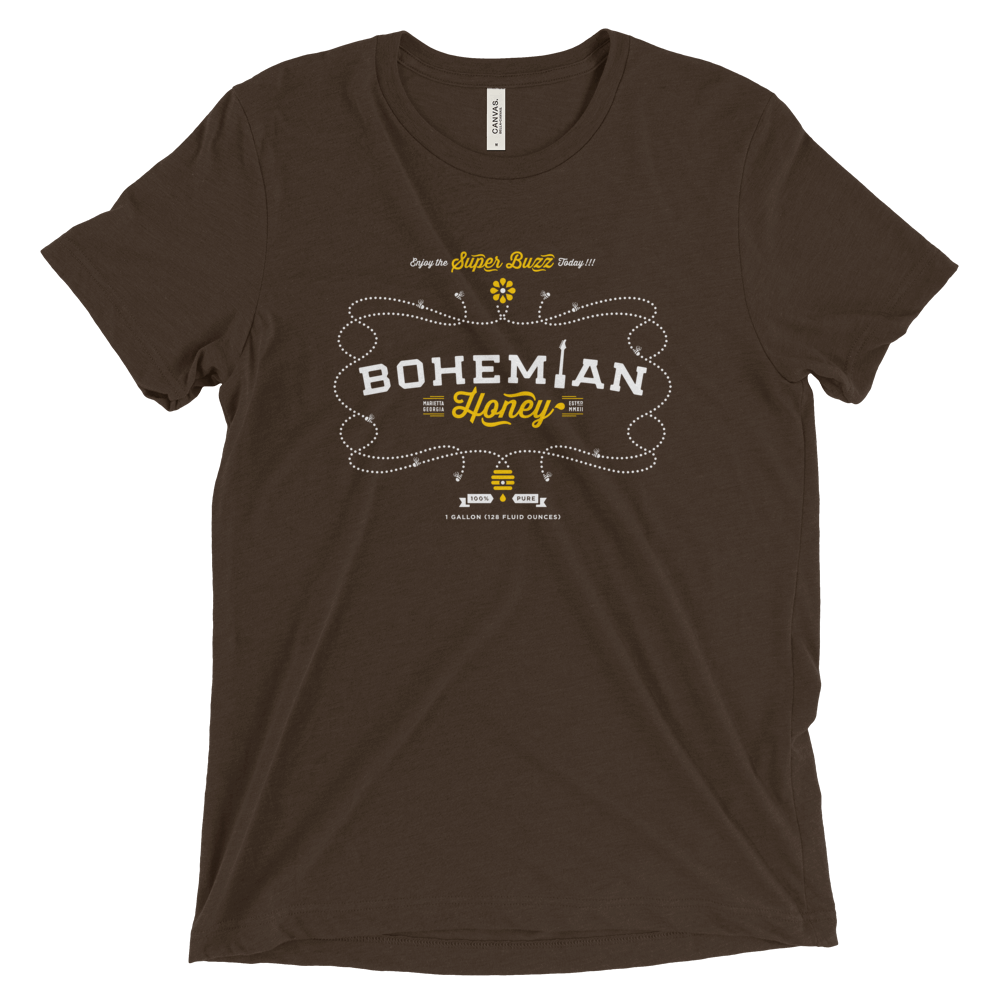 Triblend Short Sleeve T-Shirt - Brown - Honey-shirts-Bohemian Guitars