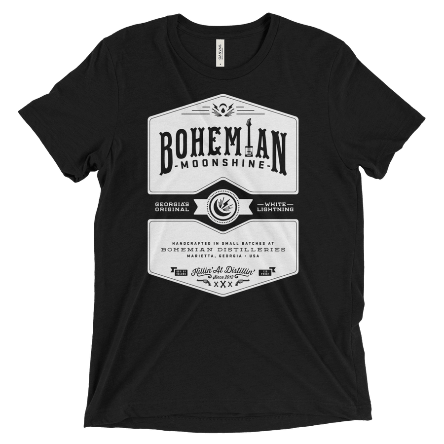 Triblend Short Sleeve T-Shirt - Charcoal Black - Moonshine-shirts-Bohemian Guitars