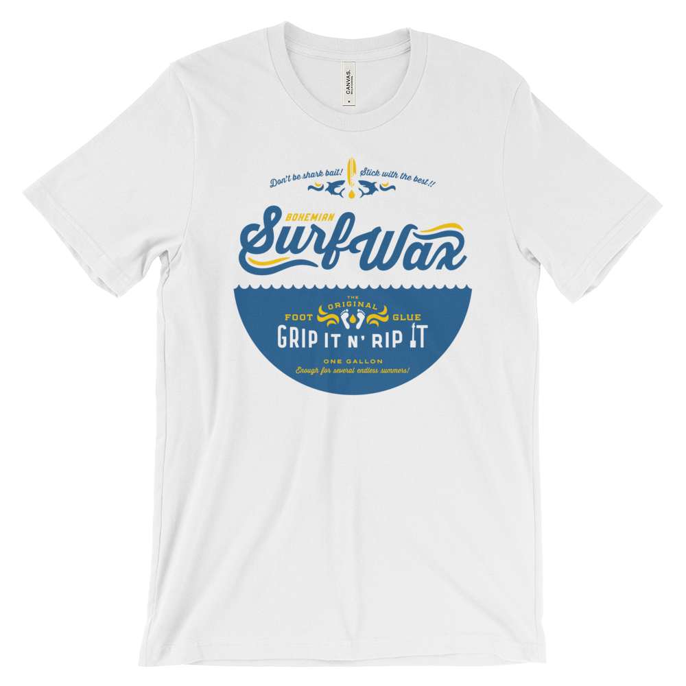 Triblend Short Sleeve T-Shirt - White - Surf Wax-shirts-Bohemian Guitars