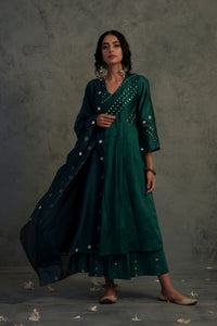 Chanderi emerald green mirror embellished bell sleeves kurta with wide flared palazzo and contrast chanderi dupatta