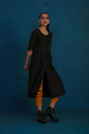 Black overlap tunic with mustard joggers-set of 2