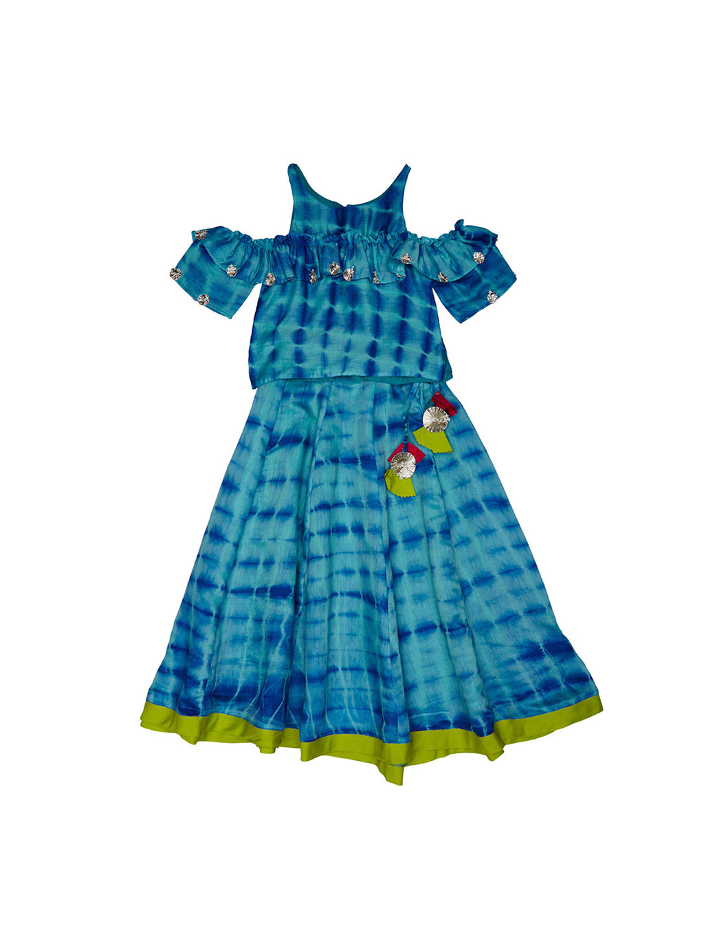 blue cold shoulder tie-dye lehenga set