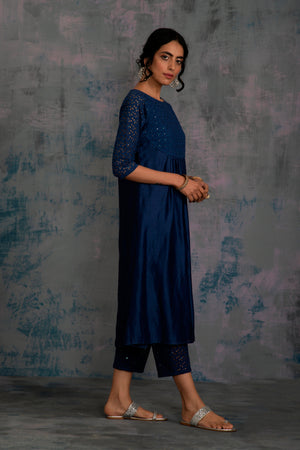 Swarovski Midnight Blue Round Yoke Kurta with Pant & Egyptian Blue Dupatta - Set of 3