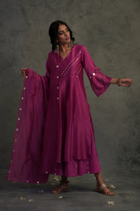 Chanderi bright pink embellished bell sleeves kurta with wide flared palazzo and chanderi dupatta