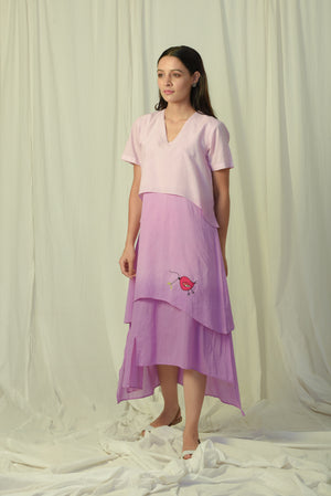 Lavender shaded inverted layer dress