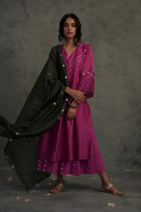 Chanderi bright pink embellished bell sleeves kurta with wide flared palazzo and contrasting chanderi dupatta