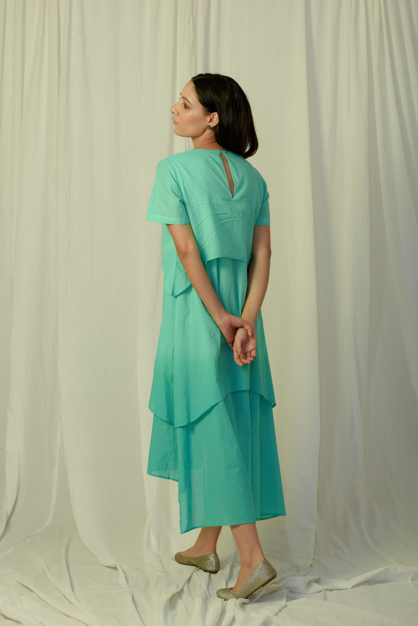 Green shaded inverted layer dress