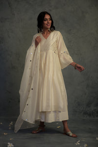 Chanderi off-white embellished bell sleeves kurta with wide flared palazzo and chanderi dupatta