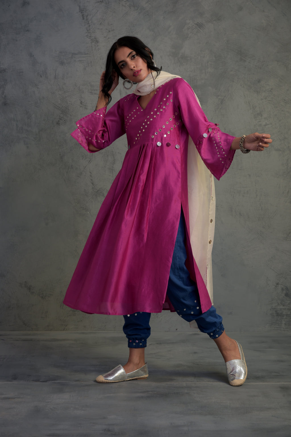 Colour Pop Pink Chanderi kurta set with blue jogger style bottoms and white chanderi dupatta -