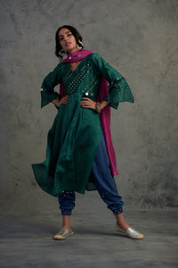 Colour Pop Green Chanderi kurta set with blue jogger style bottoms and pink chanderi dupatta -
