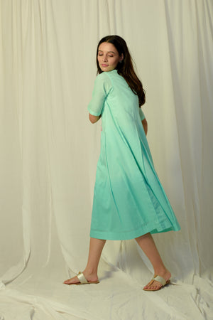 Green shaded pleated dress