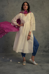 Colour Pop White Chanderi kurta set with blue jogger style bottoms and pink chanderi dupatta -