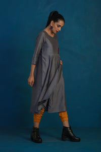 Grey overlap tunic with mustard joggers-set of 2