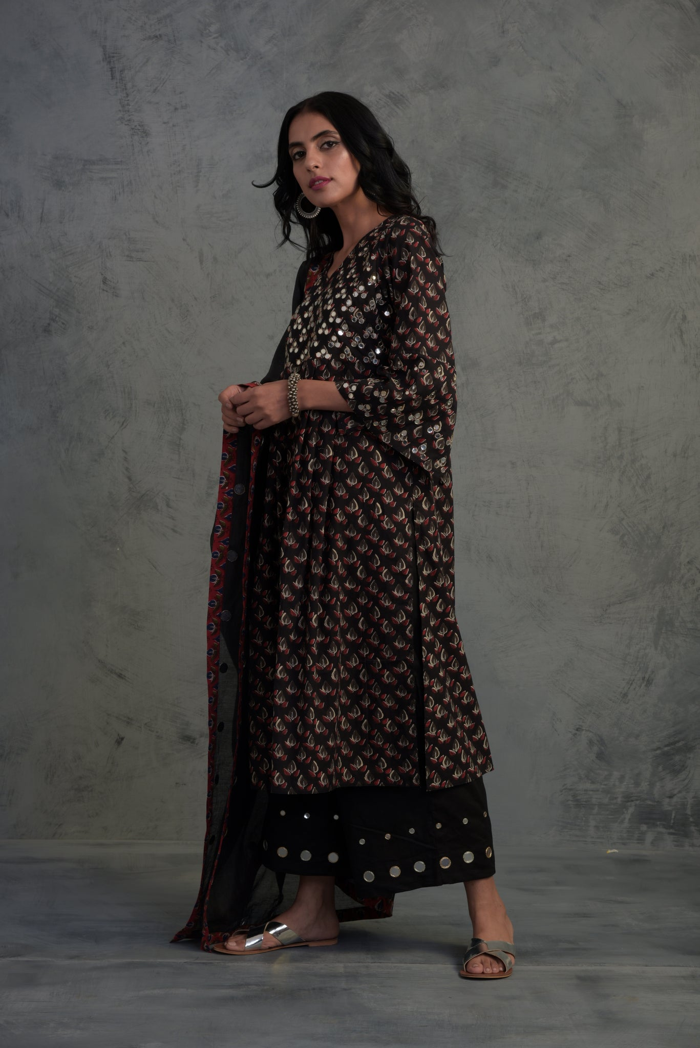 Black block print mirror embellished bell sleeves kurta with palazzos and chanderi dupatta