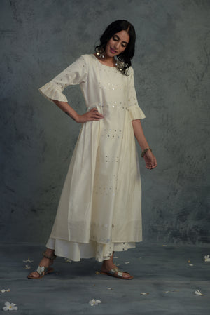 Chanderi off-white pleated sleeves kurta with wide flared palazzo and chanderi dupatta