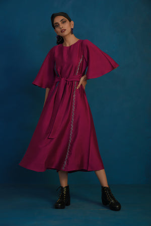 Wine belted dress