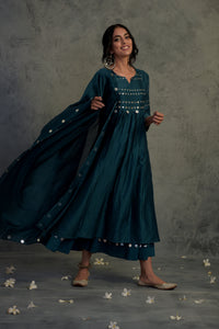 Chanderi teal blue mirror embellished kurta with wide flare palazzo and chanderi dupatta