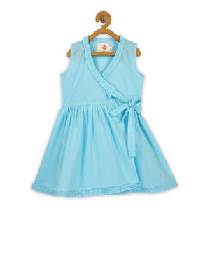 Blue Ruffled Wrap Frock