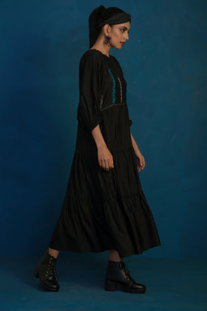 Black long tier dress
