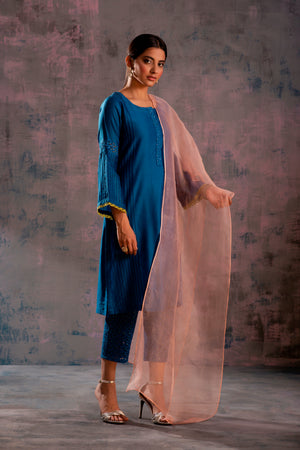 Swarovski Egyptian Blue Flared Sleeves Kurta with Blue Pant & Mauve Dupatta - Set of 3