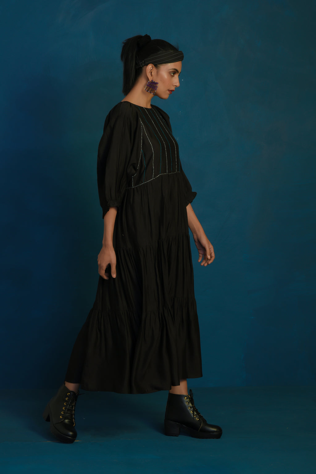 Black long tier dress with stitch embroidery