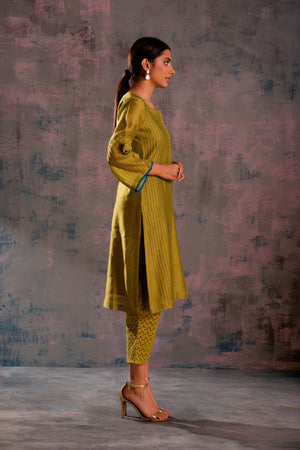 Swarovski Berry Green Flared Sleeves Kurta with Green Pant & Mauve Dupatta - Set of 3