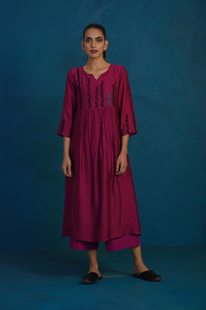 Wine gather kurta with palazzo