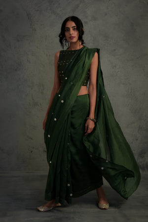 Chanderi bottle green Saree with blouse - set of 2